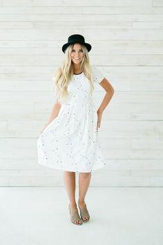 Floral Tea Dress- White/Black