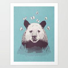 drawing, illustration, bear, butterflies, mountain, trees, landscape, cute,