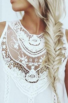 Fishtail Braid on the lovely @emilyrosehannon who is wearing her 160g Ash Blonde Luxy Hair Extensions to create this look. #LuxyHairExtensions