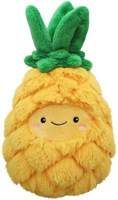 Add a fun, tropical feel to your child's bedroom décor with the Squishable Comfort Food Mini Pineapple Plush Toy. Soft and cuddly, this polyester stuffed animal features a smiling pineapple design with its yellow body and green top. Bullet Journal Halloween, Food Pillows, Cute Birthday Gift, Pineapple Design, Cute Stuffed Animals, Cute Plush, Cute Friends, Beanie Boos, Plush Dolls