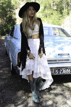 Boho, with Cowboy boots... wow/ Find your Inspiration @ #DapperNDame Pinterest. dapperanddame.com