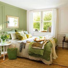 15 dormitorios en verde que invitan al relax Green Bedroom Design, Green Bedroom Decor, Bedroom Ideas, Green Bedroom Walls, Green Master Bedroom, Green Bedding, Bedroom Bed, Cozy Bedroom, Trendy Bedroom