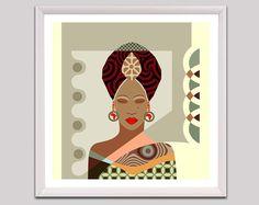 African Woman, Black Woman Art, Black Woman Painting, African American Woman, African American Wall Art, Nubian Queen