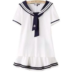 Nuoqi Girl's Short-sleeved navy sailor suit school uniform cosplay... ($26) ❤ liked on Polyvore featuring dresses and sets