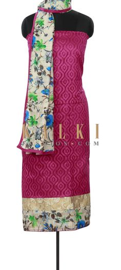 Buy Online from the link below. We ship worldwide (Free Shipping over US$100) Price- $49 Click Anywhere to Tag http://www.kalkifashion.com/rani-pink-unstitched-suit-enhanced-in-print-and-sequin-only-on-kalki.html