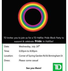 BLOCK PARTY ALERT ... WEDNESDAY Birmingham street off spring garden next to TD from @maz_ellaz  Halifax Pride Block Party  #halifaxnoise #halifaxpride #blockparty #dj #photobooth #facepainting #bubbles #popcorn #dj #music #cottoncandy #sidewalkchalk #sketchartist #magician #readingtent #hoolahoops #lemonade #games #foreverproud #bewhoyouare . From @halifaxpride  Come Celebrate the Spring Garden TD Branch being wrapped in rainbow colours! is is the first TD Bank in Atlantic Canada to be…