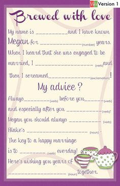Items similar to Wedding Guest Book Alternative Mad Lib Cards - Hen's Night Bachelorette Mad Lib Cards - Martini Girl on Etsy Hen Night Ideas, Hens Night, Hen Ideas, Tea Party Theme, Tea Party Wedding, Wedding Reception, Dream Wedding, Tea Party Bridal Shower, Bridal Shower Games