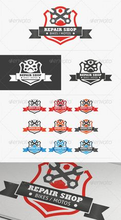 Repair Shop Shield EPS Logo Template • Only available here ➝ http://graphicriver.net/item/repair-shop-shield-logo/3196088?ref=pxcr
