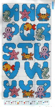 Alphabet M-Z undersea pattern Cross Stitch Alphabet Patterns, Embroidery Alphabet, Cross Stitch Letters, Cross Stitch Baby, Cross Stitch Charts, Cross Stitch Designs, Stitch Patterns, Cross Stitching, Cross Stitch Embroidery