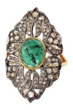 Filigree Emerald & Diamond Ring