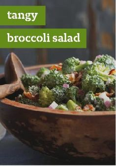 Tangy Broccoli Salad – A broccoli salad recipe that is sure to please everyone, with a sweet and tangy dressing and bits of crumbled bacon that only takes 20 minutes to prepare.