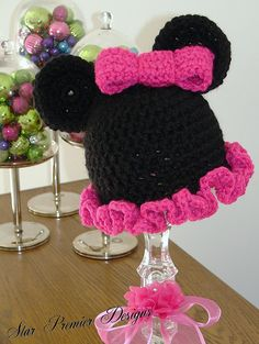Crochet- Minnie Mouse Hat -PLEASE!! @Jean Thompson! For a b-day gift in April for a grand-niece!