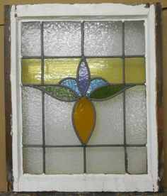 "MID SIZED OLD ENGLISH LEADED STAINED GLASS WINDOW Awesome Floral 19.75"" x 23.25"""