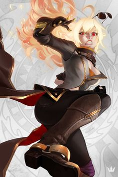Yang - Wild Huntress by Nick Silva Manga Anime, Rwby Anime, Rwby Fanart, Anime Nerd, Fantasy Characters, Female Characters, Rwby Characters, Poses Manga, Rwby Yang
