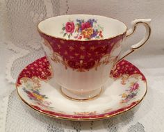 Vintage  Bone China Tea Cup & Saucer   English  by CupsAndRoses                                                                                                                                                                                 More