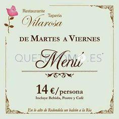Menú del día   Restaurante tapería Vilarosa en Cedeira, Redondela (Pontevedra)