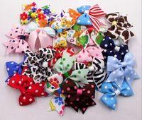 "100pcs Diy 2"" Mini Print  cheer bow headwear headdress Mulit colors Picked (no clip)"