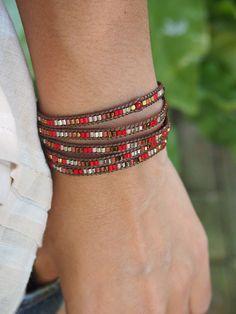 Red mix Wrap bracelet Seed beaded Boho Wrap Bracelet
