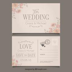 Convite de casamento em grande estilo cartão postal Vetor grátis
