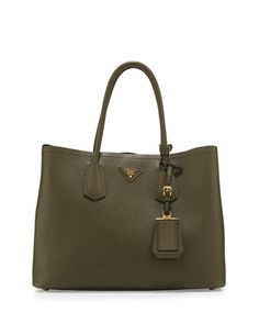 Saffiano Cuir Medium Double Tote Bag, Green (Militare) by Prada at Neiman Marcus.