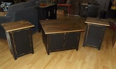 coffee table and end tables Primitive Tables, Primitive Decorations, Wood Furniture, Living Room Furniture, Furniture Ideas, Table And Chairs, End Tables, Goat Barn, Home Crafts