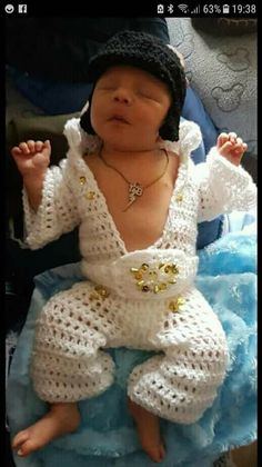 Gotta love this crochet Baby Elvis outfit and hair!  Just gave me a haha...