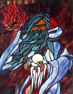 Fire And Ice Wizard - Delphi Stained Glass