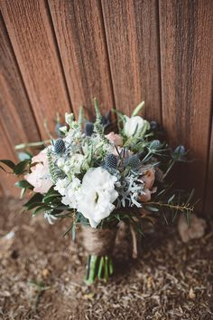 wedding bouquet with thistle - photo by J&G Photography http://ruffledblog.com/bohemian-arizona-brunch-wedding