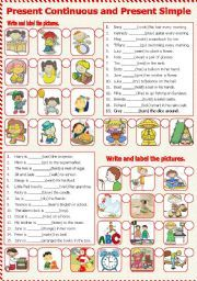 English Worksheets: Present Continuous and Present Simple