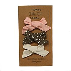 Amazon.com: Hand-Tied Baby Girl Bows - 3-Pack Alligator Clip Hair Bows for Infants - By Clara Josie (Large, PCB): Clothing