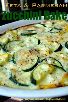 Feta & Parmesan Zucchini Bake - Wow! Perfect as a main dish or a side!