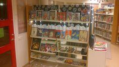 Christmas books display.