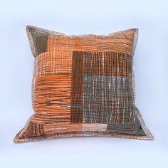Orange and Grey Cushion: Handprinted with original design image 0