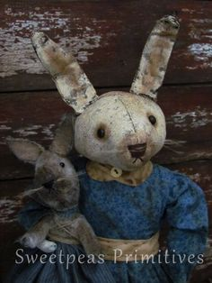 Primitive Early Vintage Style Easter Folk Art Bunny Rabbit Standing Doll and her Bunny  ~ Sweetpeas Primitives
