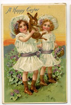 Easter Postcard - Girls Hold Bunny - Tuck - 1910