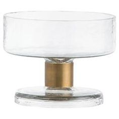 Barnie Hammered Glass Brass Stem Serving Bowl - Medium | Kathy Kuo Home