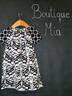 Peasant Mini Dress  Michael Miller  Damask  Pick by BoutiqueMia, $35.00