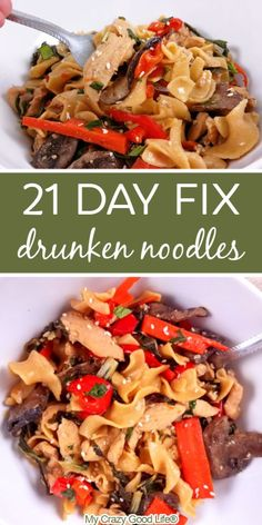 These healthy Drunken Noodles are a traditional Thai favorite! This easy recipe walks you through how to make this recipe in the Instant Pot, in the Crock Pot, or right on the stove. I love this easy chicken dinner - it's better than takeout! WW Points: 8 Blue Plan Point, 9 Green Plan Points, and 5 Purple Plan Points. 21 Day Fix: 1.5 Yellow containers, 1 Red container, 2 Green containers per serving.  #21dayfix #healthy #ww #beachbody #instantpot