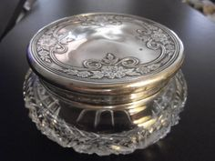 Antique Art Nouveau Rare Foster & Bailey Sterling Silver Cut Crystal Vanity Jar on Etsy, $135.00