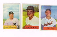 1954 Lot of Baseball Cards Bowman Nos. 71 ; 193 ; 156
