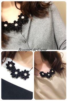 http://s.ameblo.jp/bouquet-de-coeur/  Handmade black flower necklace
