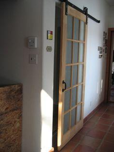 sliding door image Laundry Room Doors, Door Images, Industrial Door, Small Places, Half Baths, Barn Door Hardware, Bath Ideas, Sliding Doors, Windows