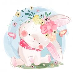 Cute bunny in spring Premium Vector Cute Animal Illustration, Cute Animal Drawings, Cute Drawings, Cartoon Mignon, Illustration Mignonne, Art Mignon, Cute Animal Videos, Baby Art, Cute Images