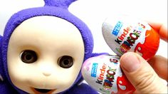 Teletubby Tinky Winky Opens Kinder Surprise Eggs