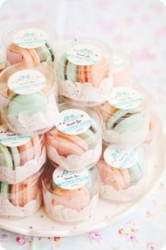 peach and mint macarons will be cool wedding favors