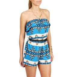 e1483e454ecf Blue Ivory Strapless Tribal Romper Tribal Trends