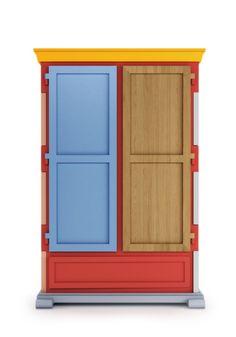 Paper Cupboard Patchwork   Studio Job for Moooi   Kinderlijk, minimalistisch met leuke kleurspeling, om vrolijk van te worden