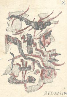 """E. Besozzi pitt. 1960 Immagine vegetale pen. e biro su carta cm. 11,3x8,2 arc. 239 Bibliografia: M. Bonfantini, F. Gualdoni, monografia """"Il Fiume di Besozzi""""""""Verso il'60"""" 1994 pp.13 rip."""