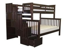 Twin over Full Bunk Beds with Stairs