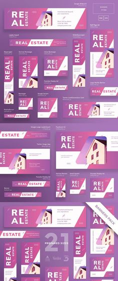 Buy Real Estate Agency Banner Pack by ambergraphics on GraphicRiver. Stand out of the crowd with a perfect banners pack. Big set of banners – 21 various forms and sizes to improve the lo. Real Estate Ads, Real Estate Branding, Real Estate Agency, Design Web, Web Banner Design, Design Cars, Yandex, Banner Instagram, Creative Banners